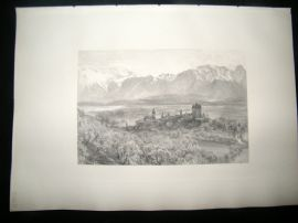 E. P. Branard after Alfred Hunt 1885 Steel Engraving. Thun, Switzerland
